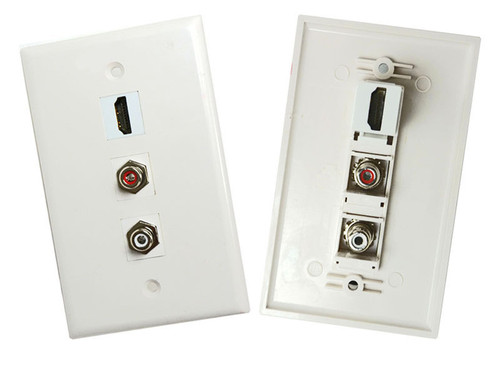 Hdmi With 2 Rca Stereo Audio Red White Wall Plate