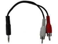 3.5mm Male Mini Plug to Dual RCA male adapter, 6 inches long
