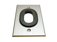 PanelCrafters custom wall plate brushed aluminum plate, with Rubber Grommet for bulk cable pass through.