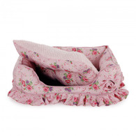 All For Paws Shabby Chic Bolster Bed Medium Pink