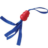 The KONG Tails are great for indoor and outdoor interactive play. Each toy is made with our KONG Classic rubber and has a squeaker to entice and entertain your dog. Every KONG Tails toy is fitted with four reinforced nylon tails and a durable looped handle, making the ideal toss and tug toy.