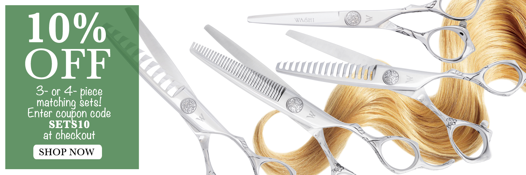 10% off matching hair cutting shear sets