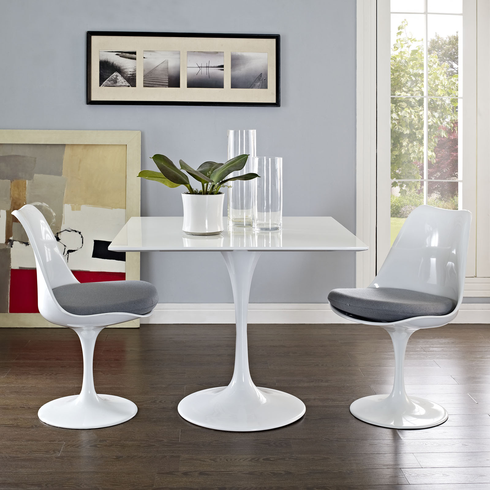 White Tulip Dining Table With Squre Top And Many Top Sizes Home - Rectangular tulip table