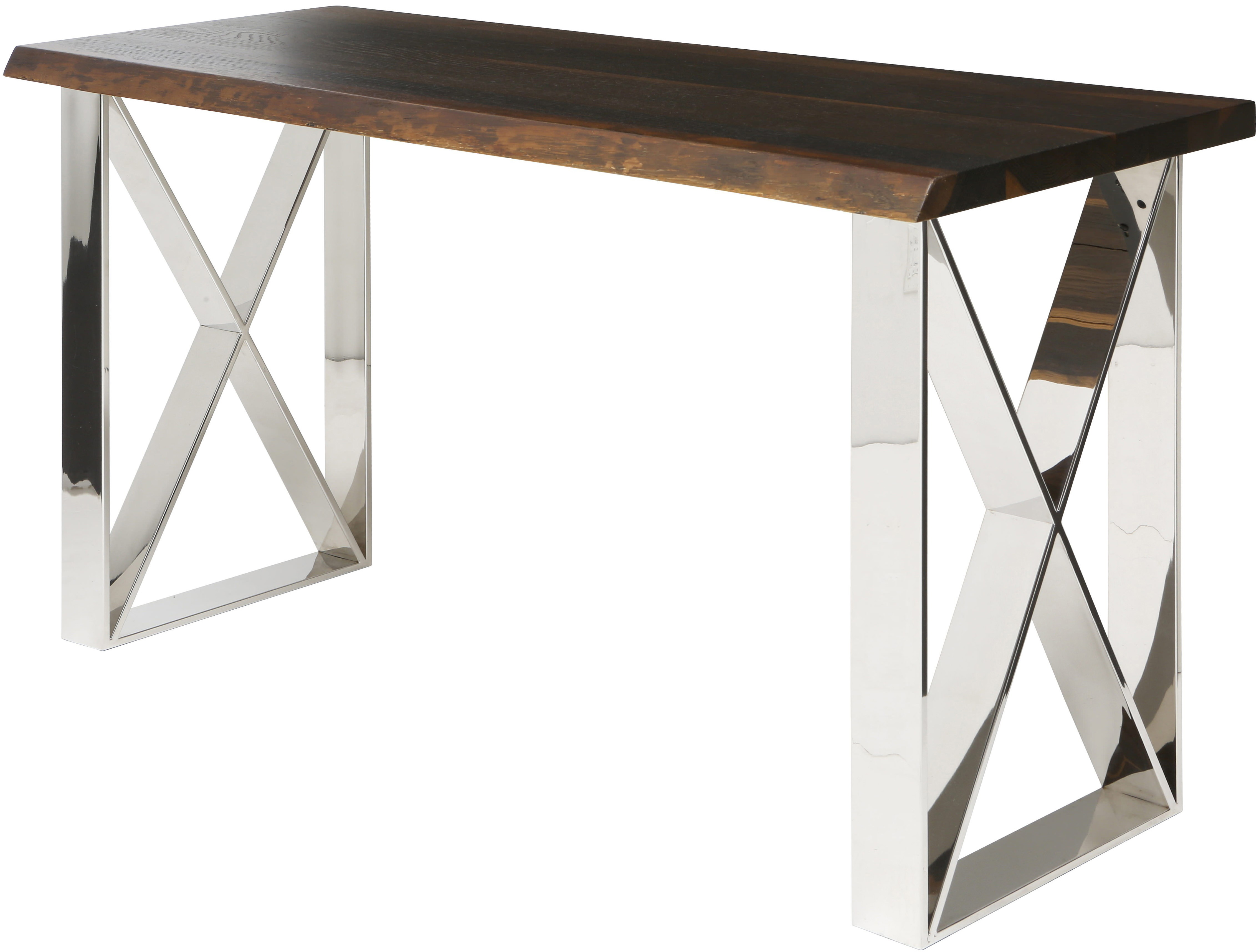 the aix console table made with seared oak and polished stainless steel