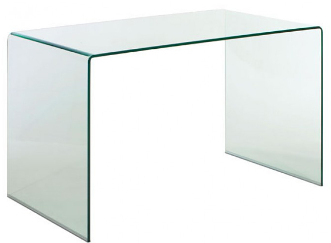 clear tempered glass desk