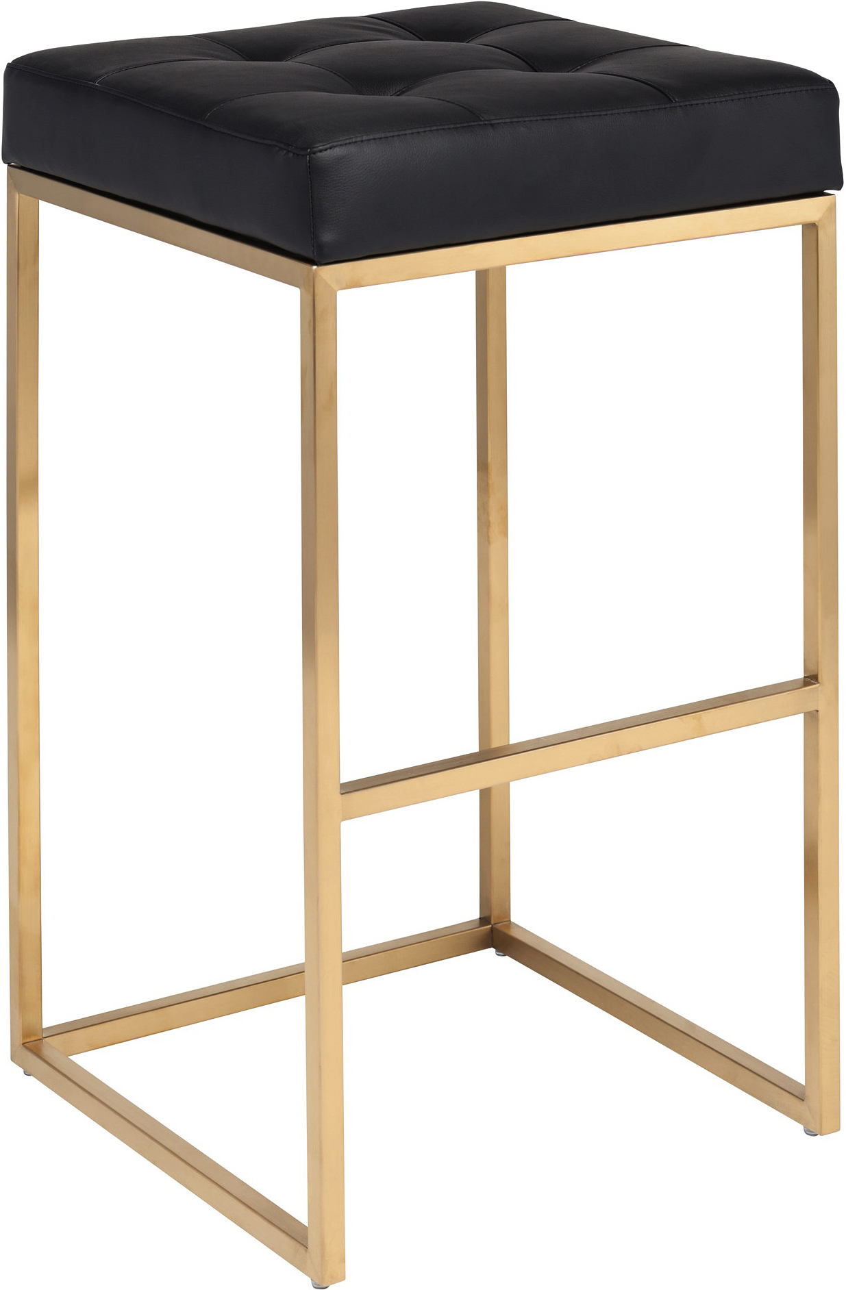 Chi Stool By Nuevo Living Is Available In Bar And Counter Height And Can Be Purchased At AdvancedInteriorDesigns.com. This stool comes with a brushed gold frame and with naugahyde leather either in black or white.