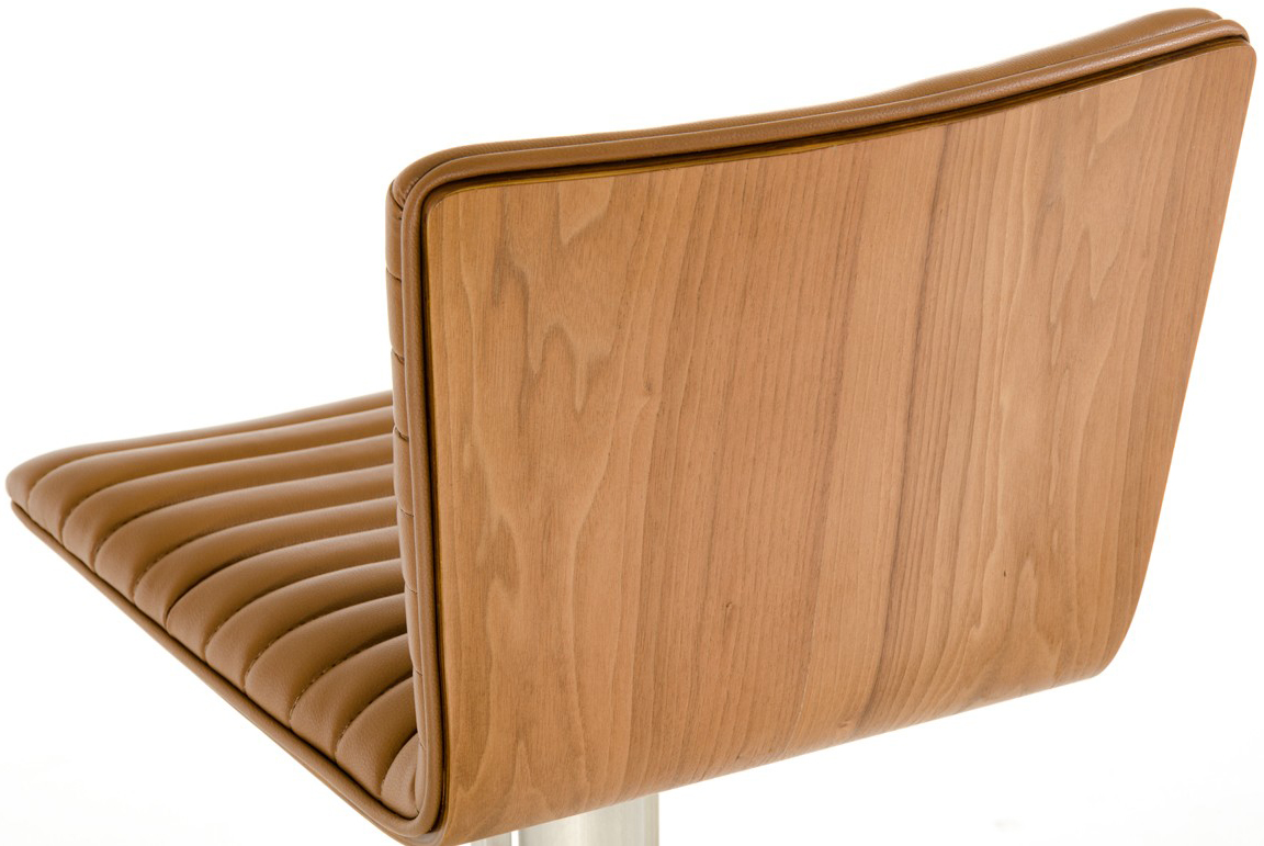 close up of back seat of reynolds camel bar stool