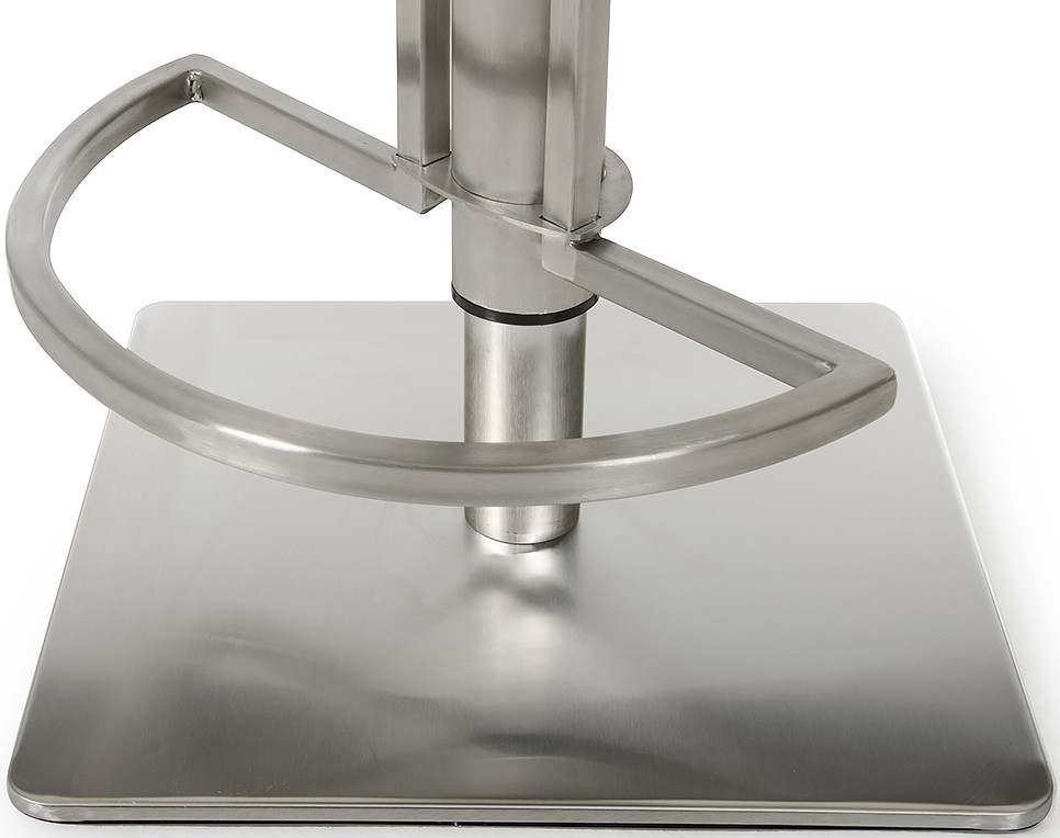 close up shot of the foot rest murphy grey and stainless steel bar stool