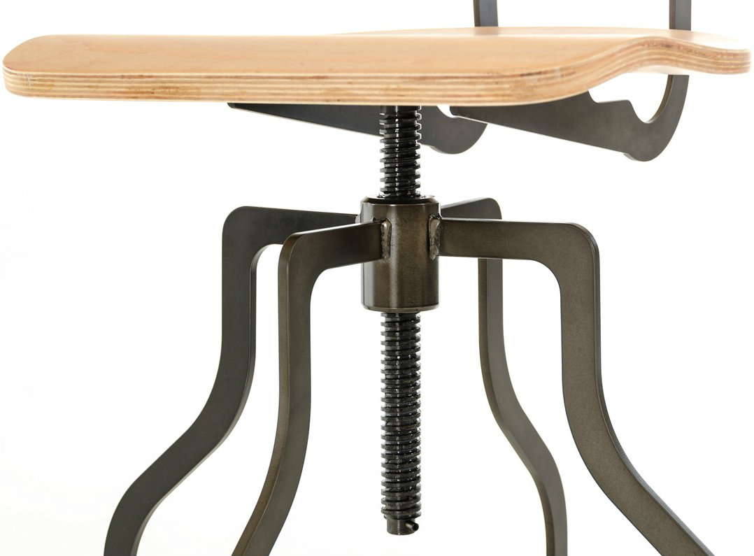 close up shot of the clarance wooden bar stool with back