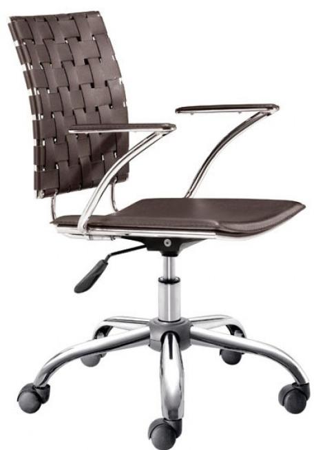 zuo 205032 criss cross office chair espresso