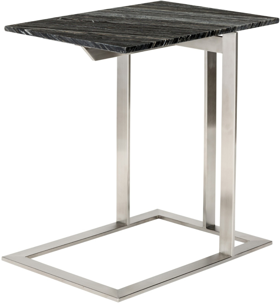 dell side table black wood vein marble brushed stainless steel