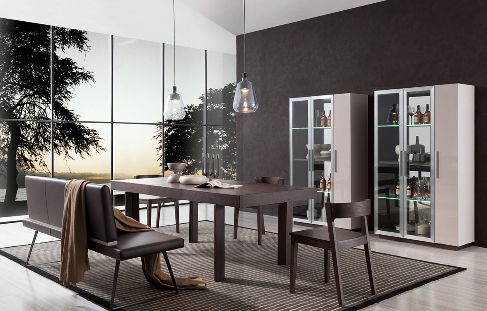 ... Dining Table Bench Seat With Back Upholstered In Brown Faux Leather ...