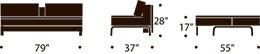 measurements for dual oak sofa