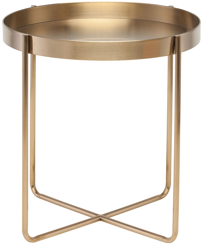 nuevo living gaultier side table in brushed gold plated