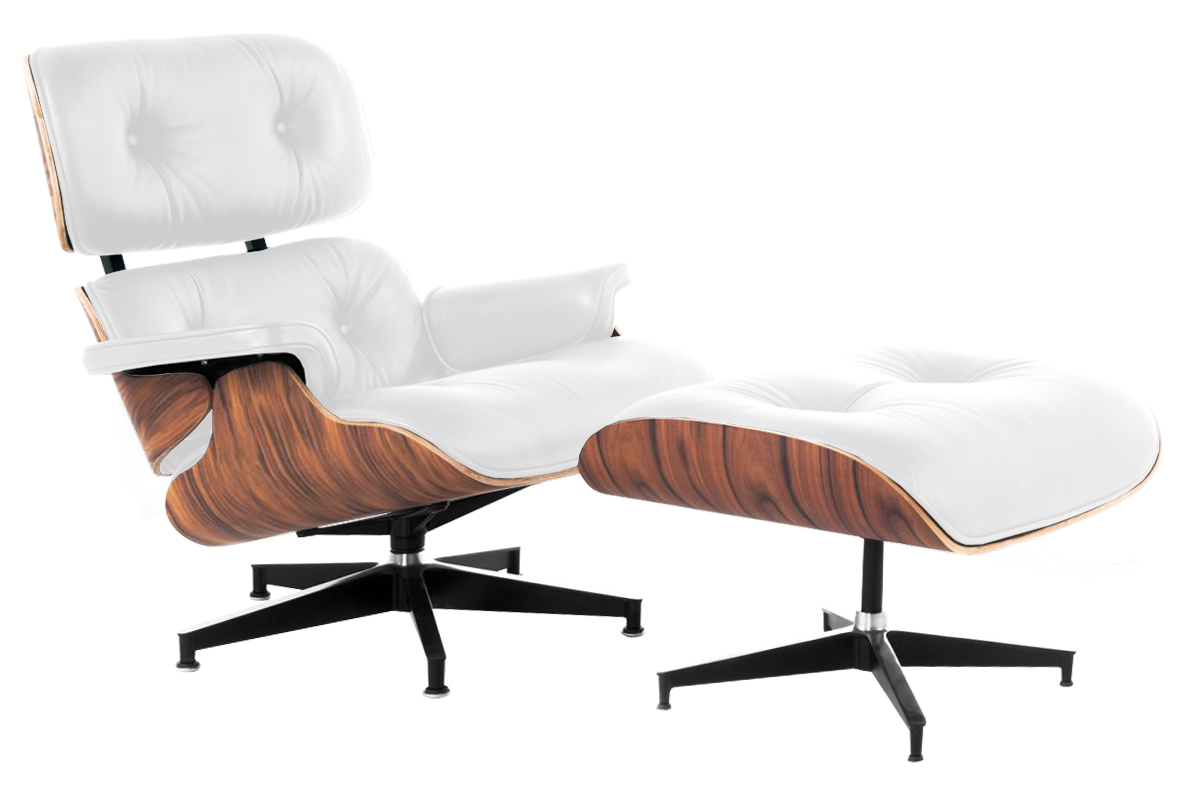 ... Lux Lounge Chair White Leather Palisander Frame ...