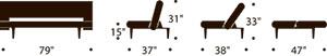measurements unfurl sofa