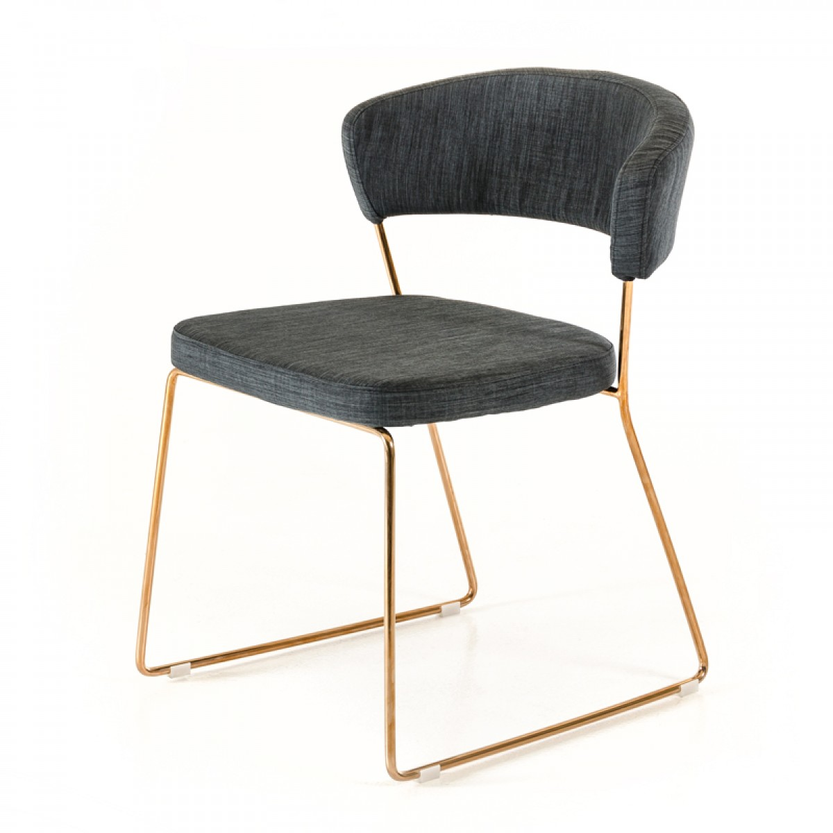 Rudolpho Modern Grey Dining Chair With Rose Gold Modern