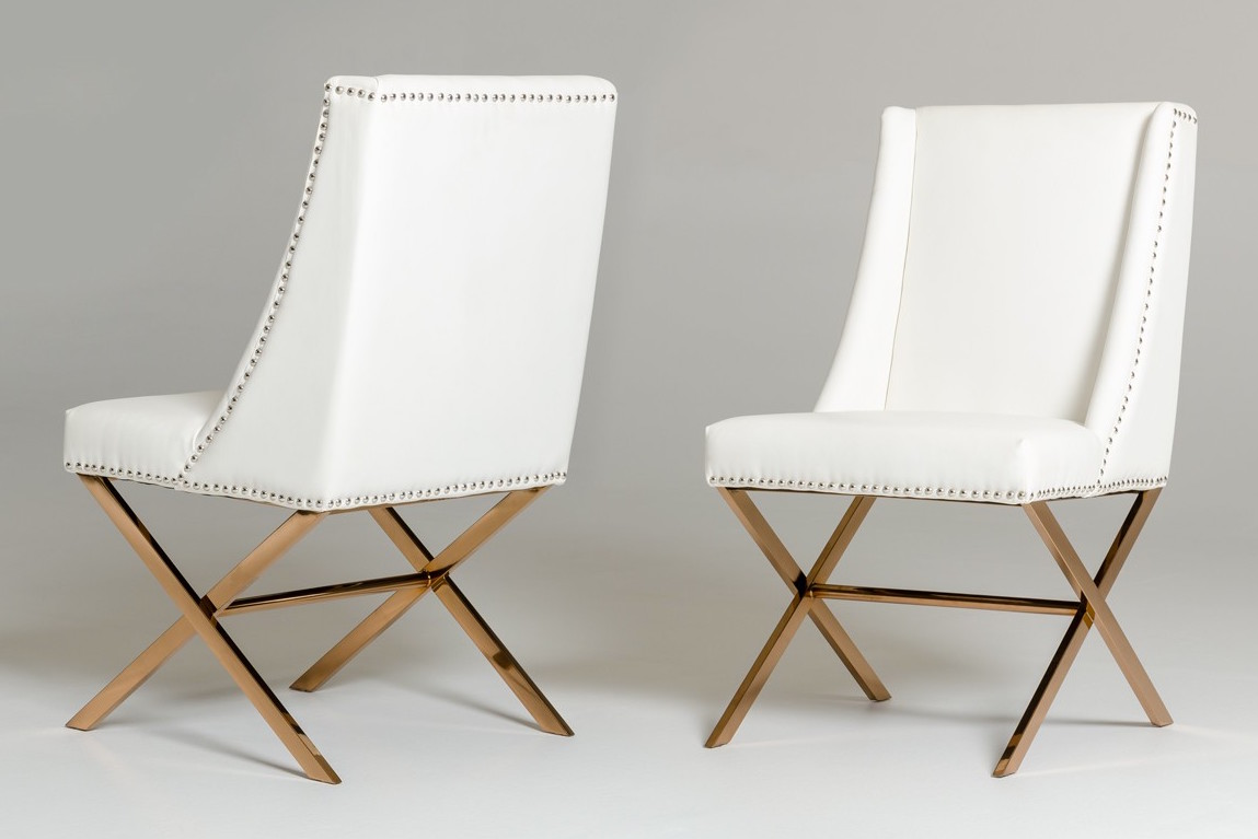 White Modus Dining Chair With Rose Gold Frame