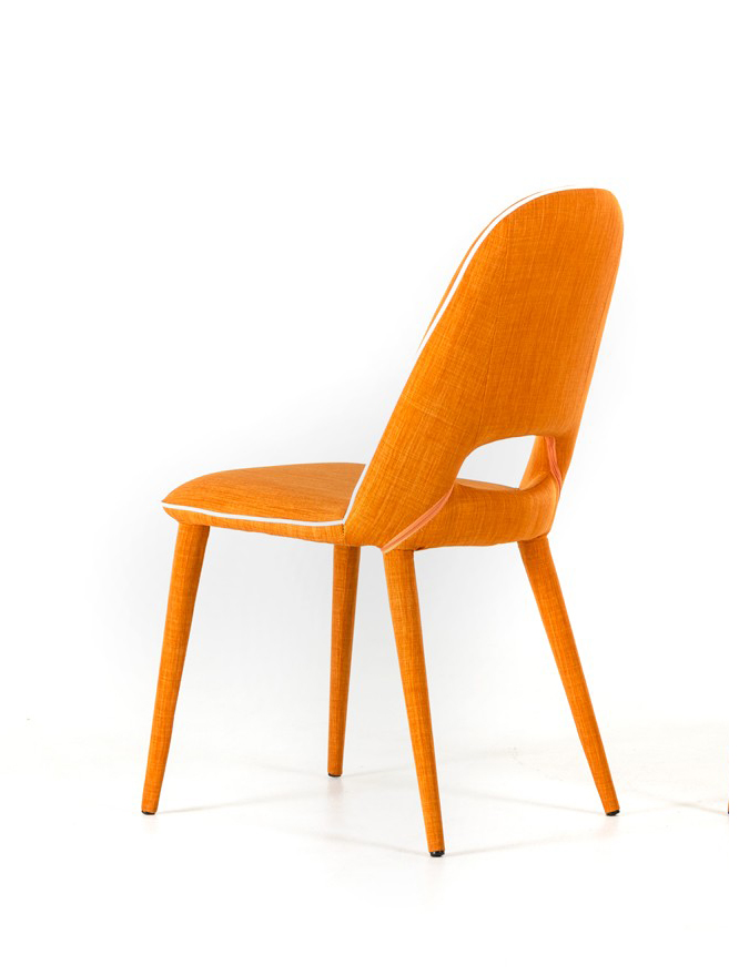 low priced orange fabric dining chair