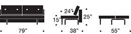 the recast plus sofa measurements