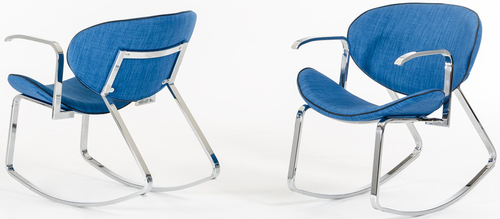 Find a great rocker arm chair upholstered in blue.