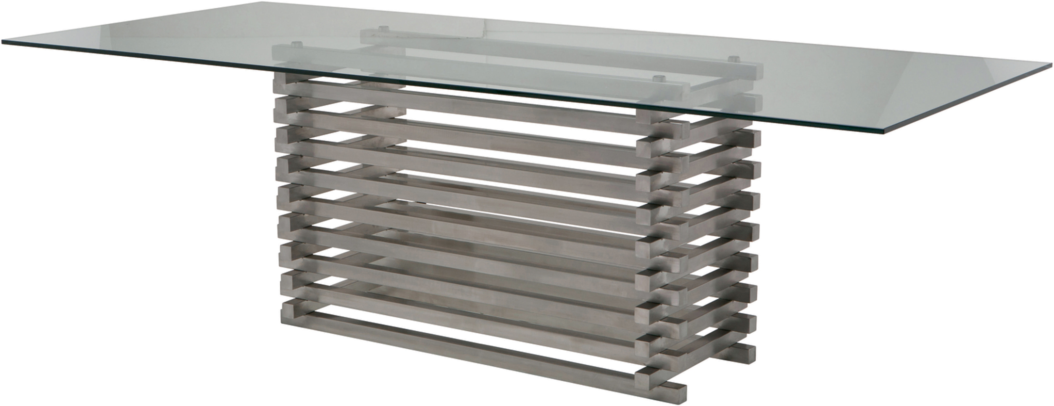 the stacked dining table in brushed stainless steel