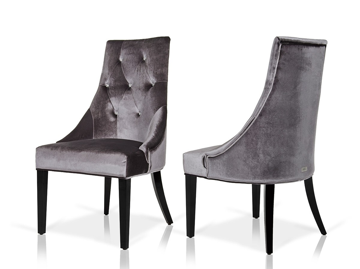 The Skye Velour Dining Chairs In Grey are available at AdvancedInteriorDesigns.com