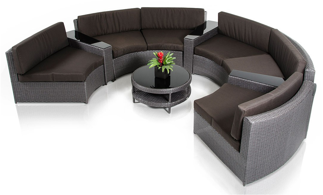 Zuma Wicker Round Outdoor Sectional Set With Coffee Table