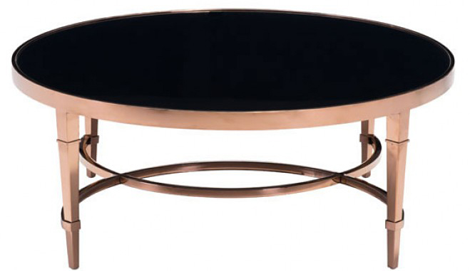 low priced rose gold black coffee table