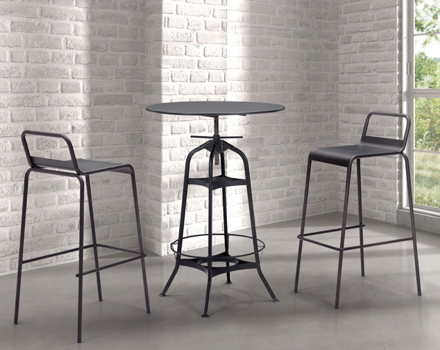 the zuo spartan table is an industrial style bar table