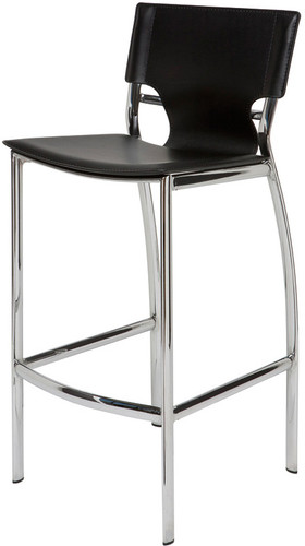 Marcello Leather Counter Stool Black