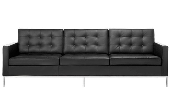 Genial Black Leather Florence Sofa