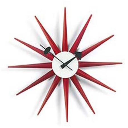 Sunburst Clock - Red