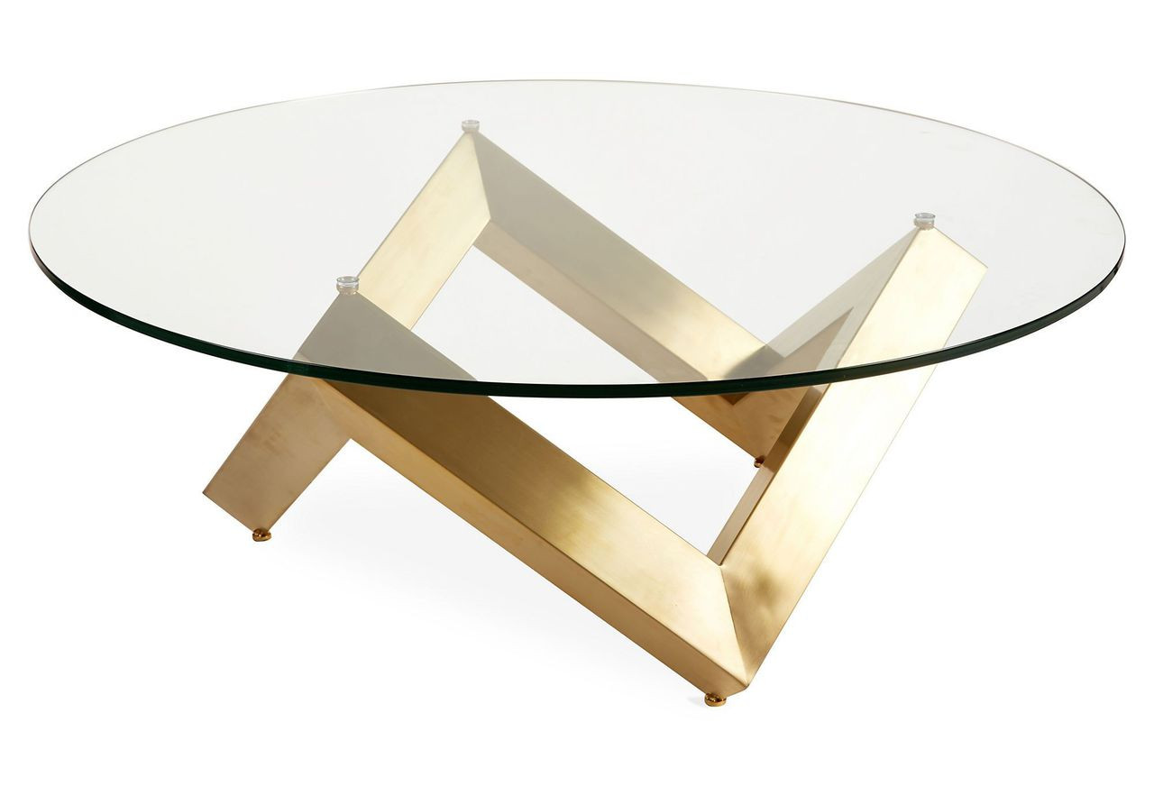 Nuevo Como Coffee Table Polished Or Gold Base Best Price