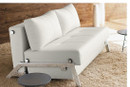 Cubed Deluxe Sofa Bed - White Leather Textile