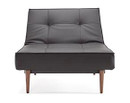 Splitback Chair With Wooden Legs - Black Leather