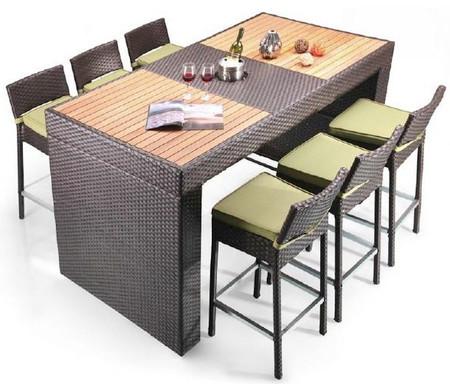 Bayline 7 piece patio outdoor bar dining set unique - Outdoor interiors 7 piece patio set ...