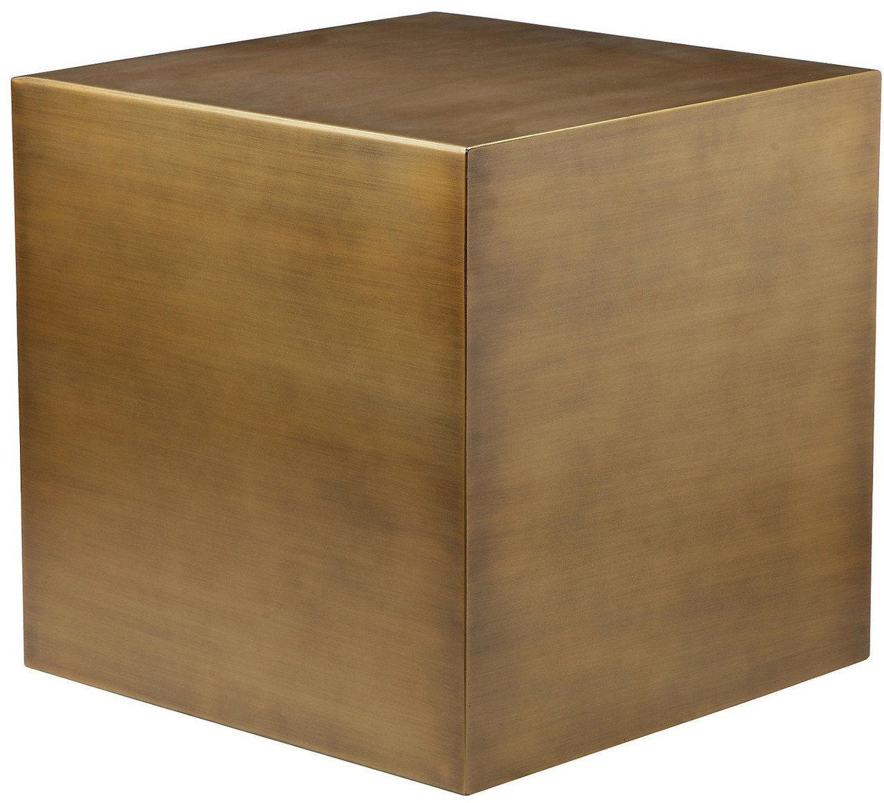 Stainless Steel Cube In Brushed Brass