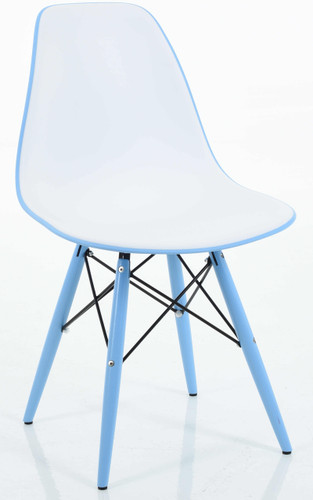 Blue Molded Plastic Side Chair In Double Color Seat, Dowel Legs