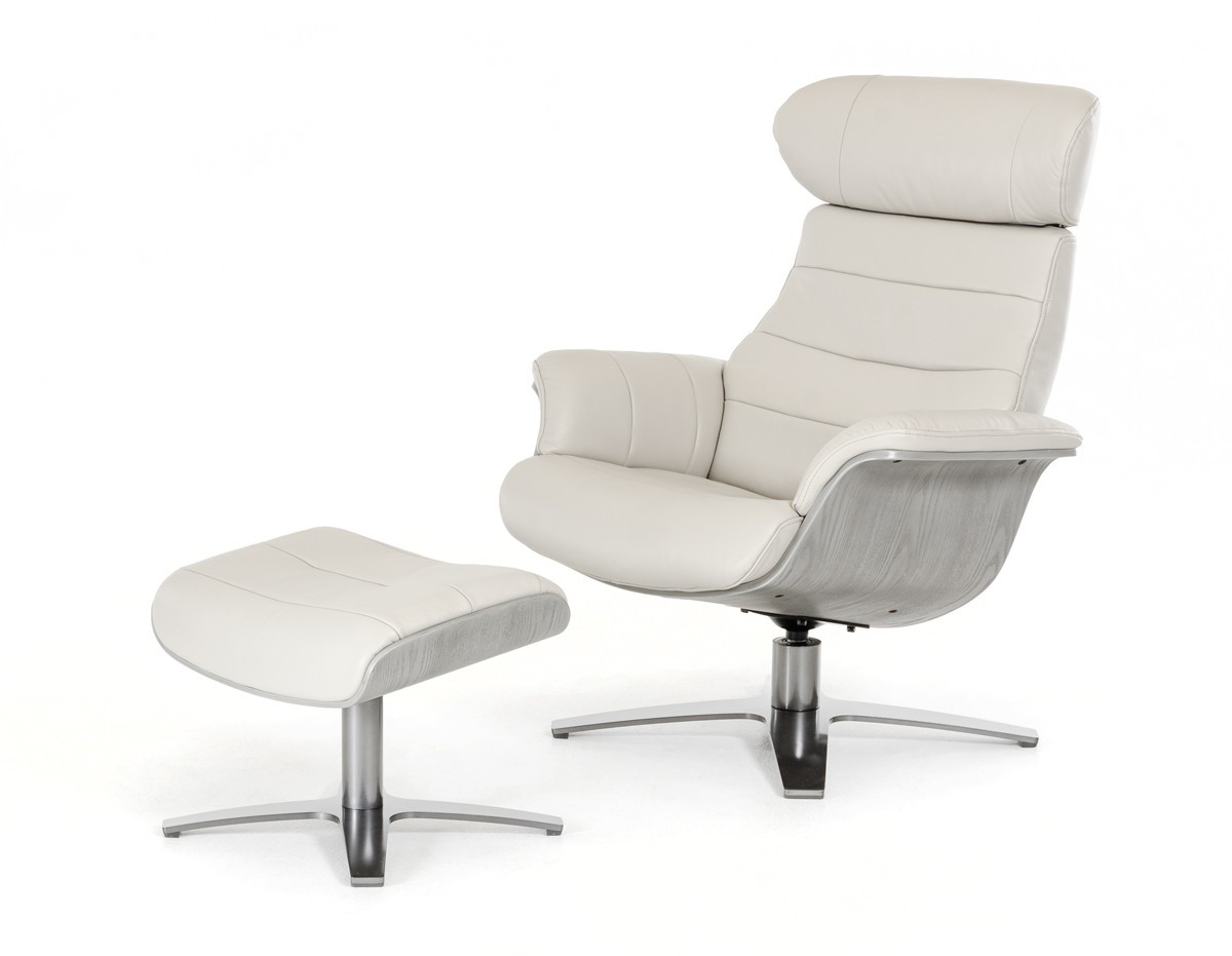 Luxur Leather Reclining Lounge Chair And Ottoman Mid