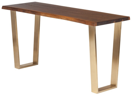 Versaille Console Table Seared Oak With Gold Stainless Steel