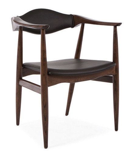 Dining Arm Chairs Black Design: Aline Leather Danish Mid Century Dining Arm Chair