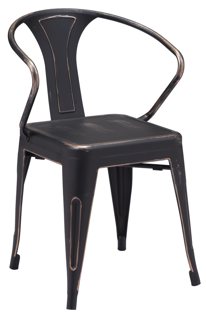 Helix Dining Chair Antique Black Gold - ZUO HELIX CHAIR ANTIQUE RUSTIC BLACK FINISH - RUSTIC SIDE DINING CHAIRS