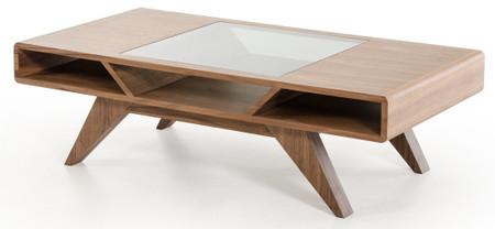 glass and walnut coffee table