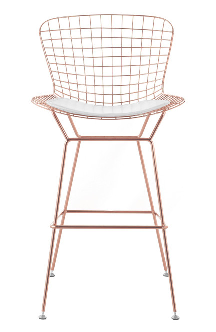 Bertoia Wire Bar Stool In Rose Gold