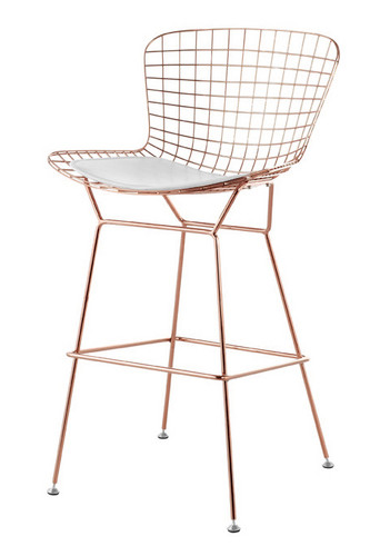 Bertoia Counter Stool Chair In Rose Gold Wire Bertoia