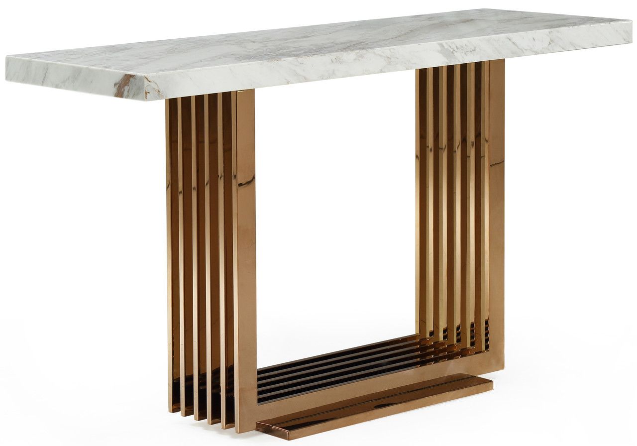Fabrizio White Top Marble Console Table Rose Gold