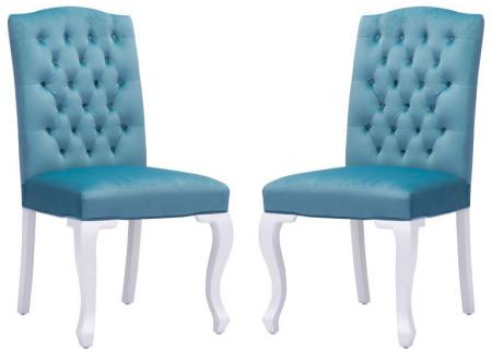 Bourbon dining chair polar blue velvet