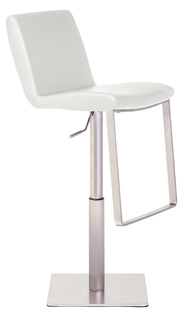 brushed plastic nuevo lewis bar stool in brushed stainless steel frame