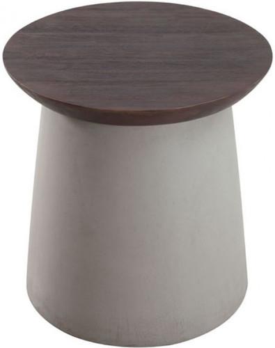 Henge Side Table Cement & Walnut